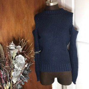 Sweaters - Blue Knit Sweater with cut out shoulders